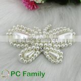 Butterfly white pearl applique beaded handmade patch for dress