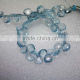Natural Sky Blue Topaz Faceted Briolette Heart