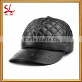 Wholesale Men's Leather Casual Baseball Hat/Cap Hight Quality Custom Black 6 Panel Leather Hat