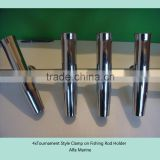 "4X Stainless Tournament Style Clamp on Fishing Rod Holder for Rails 7/8"" to 1"""
