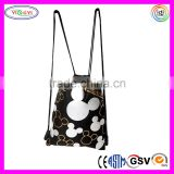 B588 Mickey Mouse Silver Drawstring Backpack Shopping Bags Nylon Cute Drawstring Backpack