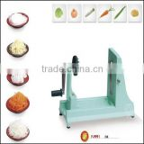 Green plastic cutting tool for cutting food and fruit