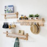 entryway wall shelf with Metal Hooks Eco-friendly bamboo coat rack