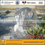 American Style Experienced Multi Red granite monument with Photo pattern & Lilt Flower