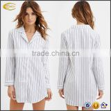 Ecoach 2016 Wholesale OEM Rounded Notched Contrast Tonal Stripes Slightly Curved Hem Brushed Cotton Sleep Shirts For Women