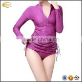 Ecoach Hot Sale Women's Swimming Shirt Adjustable ruche sides quick dry Sun Protection Long-Sleeve Rash Guards