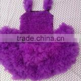 Lovely Design Baby Purple Lace Ruffle Sleeveless Top Matching Purple Chiffon Tutu Skirt Sets