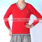2017 knitted school boy cashmere wool high quality children v neck sweater with custom emblem