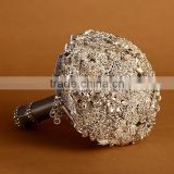 2015 gorgeous silvery artificial rhinestone bridal bouquet/top quality wedding bouquet with brooch/madein China bridal accessary