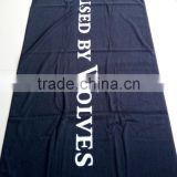 100%cotton made in China velour&terry woven jacquard/yarn dyed Black design/White words custom size beach/bath towel blankets