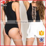 Hot New Fashion Lace Tie Up Women Bodysuit In Black