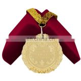 top gold plate luxury ribbon alloy metal medal Gold silver bronze sports award medallion custom metal medals