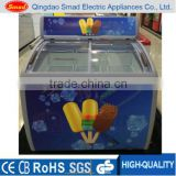 Curved Glass Top Ice Cream Deep Freezer Display Chest Freezer