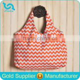 Custom Cheap Chevron Print Hobo Bag Orange Zig Zag Chevron Tote Bag With Magnetic Snap Closure