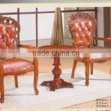 Hot cake solid wooden leather seat new classic European dining chair, wooden dining table and chair                                                                         Quality Choice