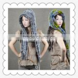 2015 new fashion rex rabbit fur cowl ladies winter hat muffle scarf with hoody