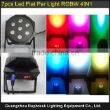 Stage Wash Light 7pcs x 10w RGBW Quad 4 in 1 Led Flat Par Light DMX / Sound / Auto / Master Slaver Control DJ Led Par Light
