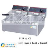 Countertop Industrial Fryer Double Basket with Heavy Duty Electric Fryer Element (SY-TF8B SUNRRY)
