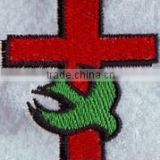 Customized cross logo embroidered patches with plastic backing for bags.