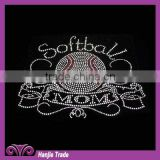 Wholesale Softball Font and Ball Design Rhinestone Iron on transfer