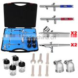 Gravity Suction Multifunction Dual Action Stainless Steel 6pcs Airbrush Set for Cake Nail Body Paint AS-36