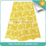 2016 African water soluble cord lace fabric stock yellow wedding dress fabric                                                                                                         Supplier's Choice