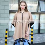 Big street PU edging latest fashion wooden beads decorated office shawl cloak