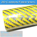 SINO Big Texture Yellow 2D Laser Carbon Fiber Foil Wrap Sticker On Car