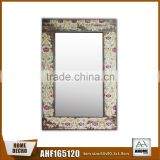 Chinese Style Wood Paper Printing Mirror Frame Beautiful Flowers Decorative Mirror Frame
