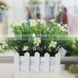 Cheap Artificial Potted Small Flower Plant Daffodil in White Wood Planter for Sell