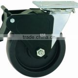 44 Series Double Ball Raceway Structure Top Plate Swivel Black PP Caster with Nylon Top Lock Brake