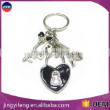 Beautiful Eiffel Tower, Lock and Key with Symbol of Love Zinc Alloy Keychain Key Holder Key Ring