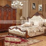 Yumian luxury European style oak wood french antique bedroom furniture set Bed Bedside table Wardrobe Dressing table Commode