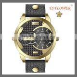 FS FLOWER - Fashion Alloy Good Quality Quartz Watch Analog Display Gold Color Leather Strap