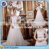 Special One-shoulder Long Sleeve Appliqued Lace Noble Crystal Beaded Off White Wedding Dresses