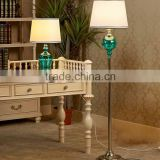 hot sale electric chrome base teal glass table lamp with beige barrel linen shade for reading CE SAA