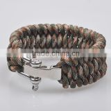 Wholesale paracord bracelet survival with stainless steel buckle accept team logo bracelet