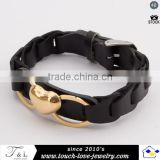 wholesale high quality black leather bracelet with heart shape