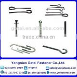 Carbon steel Hot Dip Galvanized (H.D.G) /Galvanized Foundation Anchor Bolts with black /yellow zinc plated/blue white