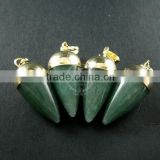 15x30mm water drop shape gold plated green aventurine jasper jade power stone pendant charm DIY supplies 1850208