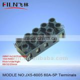 copper earthing bar JX5-6005 60A-5P fixed terminal blocks