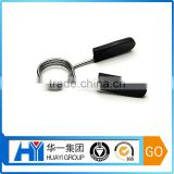 High quality custom body solid barbell spring clip collar stainless steel clip black rubber handle