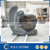 granite tombstone;angel with heart granite tombstone;hand carved headstone