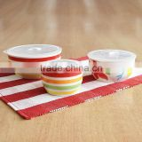 3pcs Hand Painting Stoneware Micorwave Bowl Set with Lid