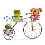 garden cart Vintage Parisian Style Tricycle 3 Tier Metal Planter Display Stand / Flower Pot Holder iron flower pot stand