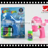 kids plastic lovely dophin bubble gun with light
