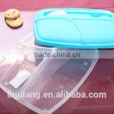 Plastic lunch box with fork and knife food grade