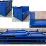Foldable Turnover Steel Pallet Box For Auto Parts , Electronics
