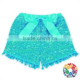2016 Newest Girls Shorts Plain Aqua Shorts With Balls Cotton & Polyester Baby Sequin Shorts