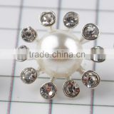 Keering open mold glass pearl crystal rhinestone shank button for wedding invitation